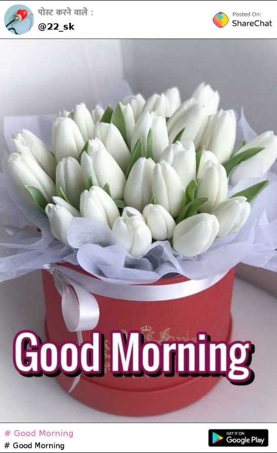 good morning - पोस्ट करने वाले : @ 22 _ sk Posted On : ShareChat Good Morning # Good Morning # Good Morning GET IT ON Google Play - ShareChat