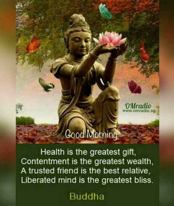 🌞good morning🌞 - O Mradio www . omradio . sg Good Morning Health is the greatest gift , Contentment is the greatest wealth , A trusted friend is the best relative , Liberated mind is the greatest bliss . Buddha - ShareChat