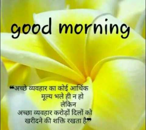 🌿🌹good morning🌹🌿 - good morning * अच्छे व्यवहार का कोई आर्थिक मूल्य भले ही न हो लेकिन अच्छा व्यवहार करोड़ों दिलों को खरीदने की शक्ति रखता है , - ShareChat