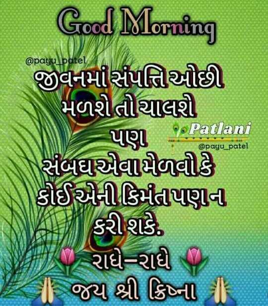 good morning  frends😊 - @ payu patel Patlani @ payu _ patel Good Morning જીવનમોસંપત્તિીઓછી મળશેતોચાલી seorang patlan સંબઘવાયેળવીકે કોઈએની કિમતાપણની ન કરી શકે રાધે રાધ છે I | જય શ્રી ક્રિષ્ની | - ShareChat