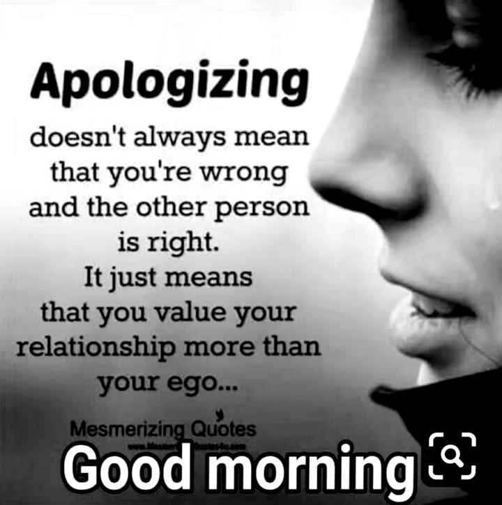 good m😊rning - Apologizing doesn ' t always mean that you ' re wrong and the other person is right It just means that you value your relationship more than your ego . . . Mesmerizing Quotes Good morning - ShareChat