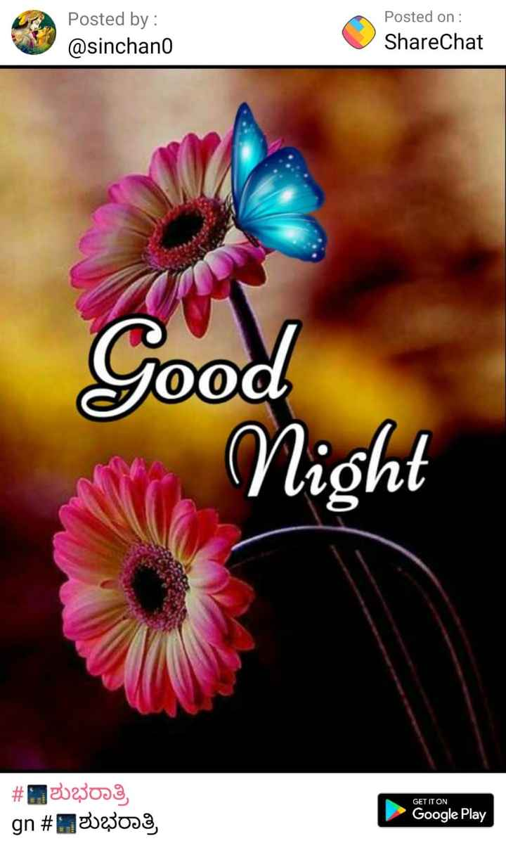 good night... - Posted by : @ sinchano Posted on : ShareChat yood Night # 3023033 _ gn # ಶುಭರಾತ್ರಿ GET IT ON Google Play - ShareChat