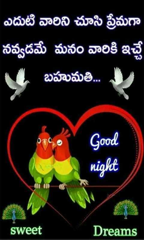 good night 🙀 - ఎదుటి వారిని చూసి ప్రేమగా నవ్వడమే మనం వారికి ఇచ్చే బహుమతి . . . Good night sweet Dreams - ShareChat