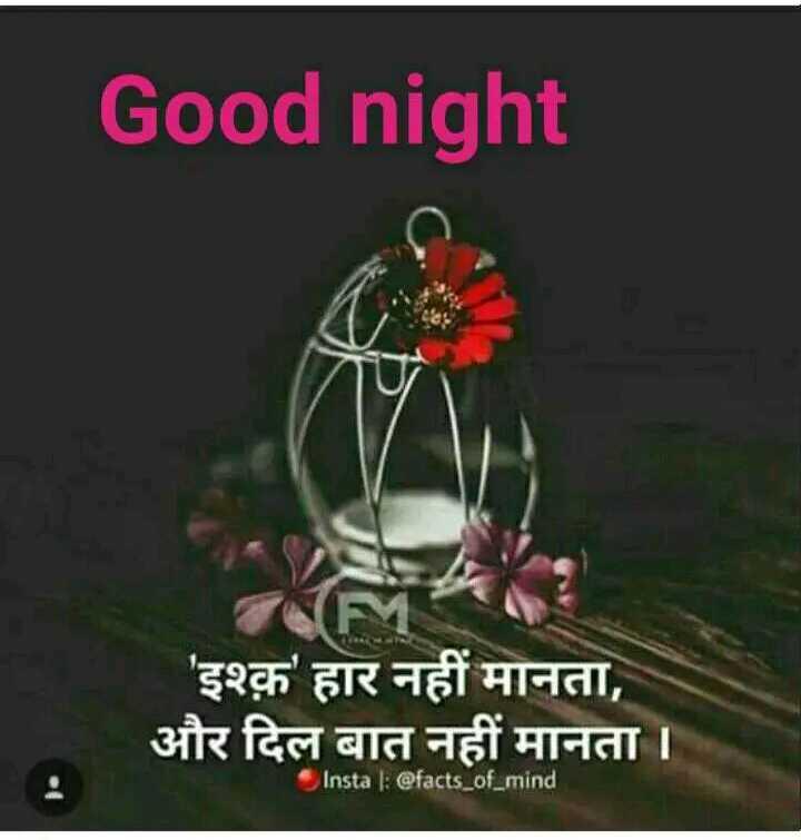 good night😇😇 - Good night ' इश्क़ हार नहीं मानता , और दिल बात नहीं मानता । Insta : @ facts _ of _ mind - ShareChat