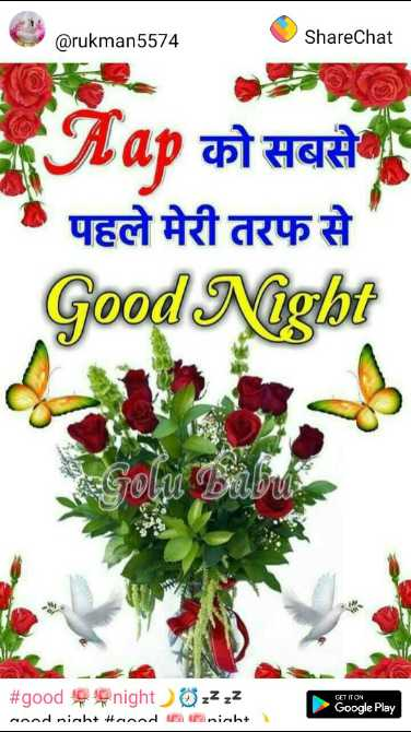 good 🌹🌹night🌙⏰💤💤 - @ rukman5574 ShareChat ETap को सबसे पहले मेरी तरफ से ' Good Night TOW # good night zzzz ared riah # road Ramniaht ) Google Play - ShareChat