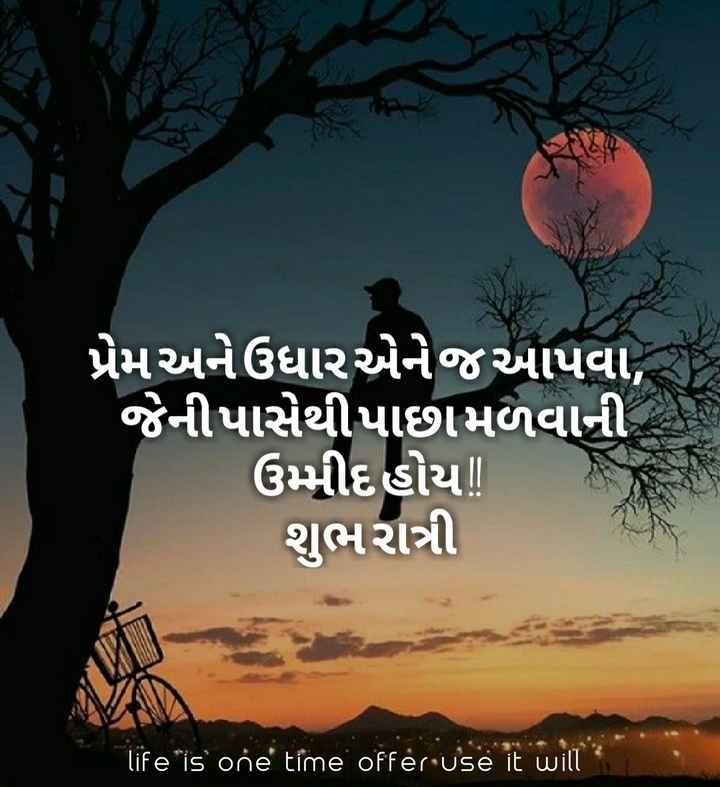 good night 😜😝 - પ્રેમ અને ઉધાર એનેજઆપવા , ' જેની પાસેથીપાછામળવાની ઉમ્મીદહોય ! શુભરાત્રી life is one time offer use it will - ShareChat
