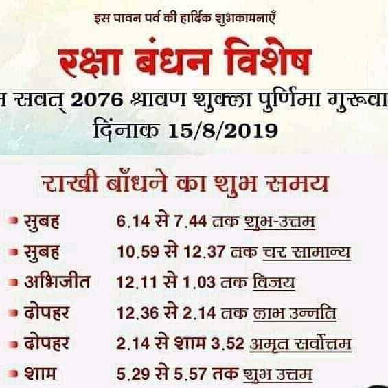 happy rakshabhandan - इस पावन पर्व की हार्दिक शुभकामनाएँ रक्षा बंधन विशेष 1 सवत् 2076 श्रावण शुक्ला पुर्णिमा गुरूवा दिनाक 15 / 8 / 2019 राखी बाँधने का शुभ समय सुबह 6 . 14 से 7 . 44 तक शुभ - उत्तम - सुबह 10 . 59 से 12 . 37 तक चर सामान्य - अभिजीत 12 . 11 से 1 . 03 तक विजय दोपहर 12 . 36 से 2 . 14 तक लाभ उन्नति - दोपहर 2 . 14 से शाम 3 . 52 अमृत सर्वोत्तम शाम 5 . 29 से 5 . 57 तक शुभ उत्तम - ShareChat
