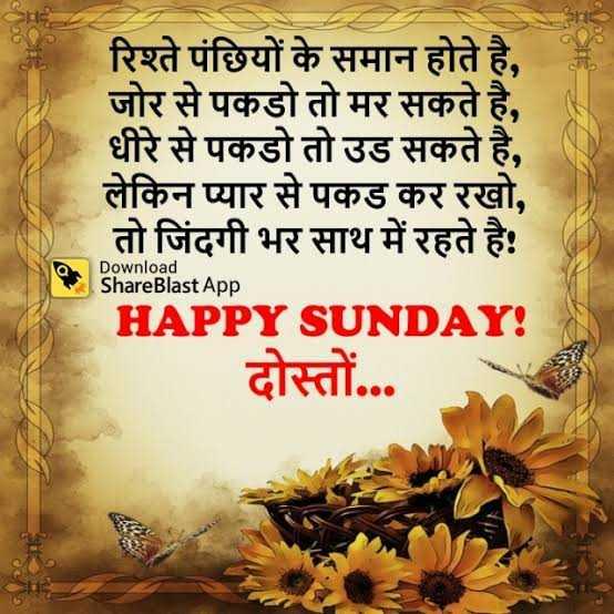 happy sunday 😊😊😊 - रिश्ते पंछियों के समान होते है , जोर से पकडो तो मर सकते है , धीरे से पकडो तो उड सकते है , लेकिन प्यार से पकड कर रखो , तो जिंदगी भर साथ में रहते है ! HAPPY SUNDAY ! दोस्तों . . . Download Share Blast App - ShareChat