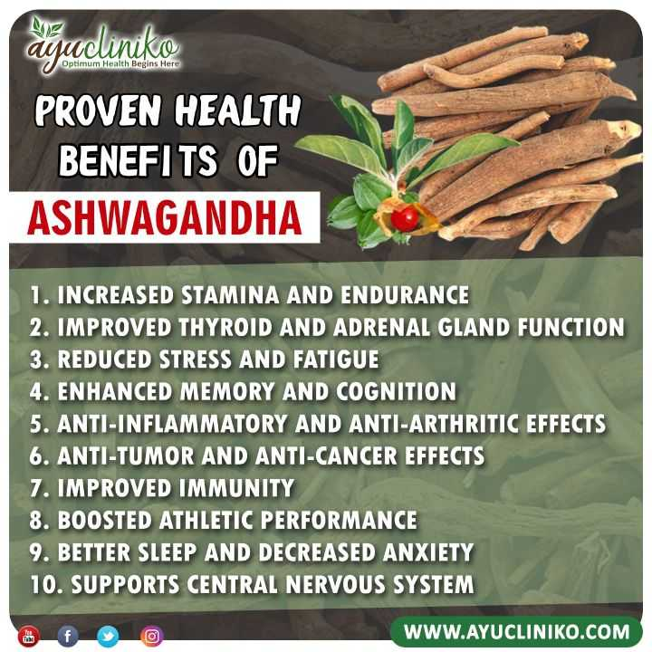health & wealth - dou 0 Optimum Health Begins Here ayadiniko PROVEN HEALTH BENEFITS OF ASHWAGANDHA 1 . INCREASED STAMINA AND ENDURANCE 2 . IMPROVED THYROID AND ADRENAL GLAND FUNCTION 3 . REDUCED STRESS AND FATIGUE 4 . ENHANCED MEMORY AND COGNITION 5 . ANTI - INFLAMMATORY AND ANTI - ARTHRITIC EFFECTS 6 . ANTI - TUMOR AND ANTI - CANCER EFFECTS 7 . IMPROVED IMMUNITY 8 . BOOSTED ATHLETIC PERFORMANCE 9 . BETTER SLEEP AND DECREASED ANXIETY 10 . SUPPORTS CENTRAL NERVOUS SYSTEM WWW . AYUCLINIKO . COM - ShareChat