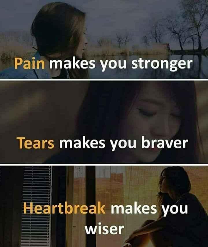 heart broken - Pain makes you stronger Tears makes you braver Heartbreak makes you I wiser - ShareChat