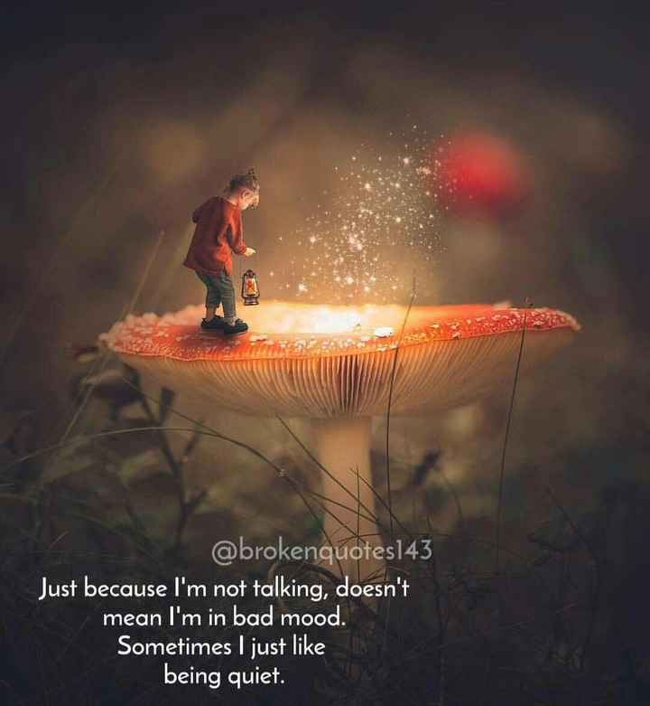 heart broken - @ brokenquotes143 Just because I ' m not talking , doesn ' t mean I ' m in bad mood . Sometimes I just like being quiet - ShareChat