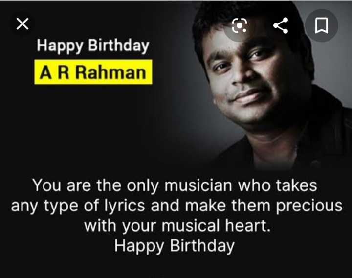 hii good morning friends - Happy Birthday AR Rahman You are the only musician who takes any type of lyrics and make them precious with your musical heart . Happy Birthday - ShareChat