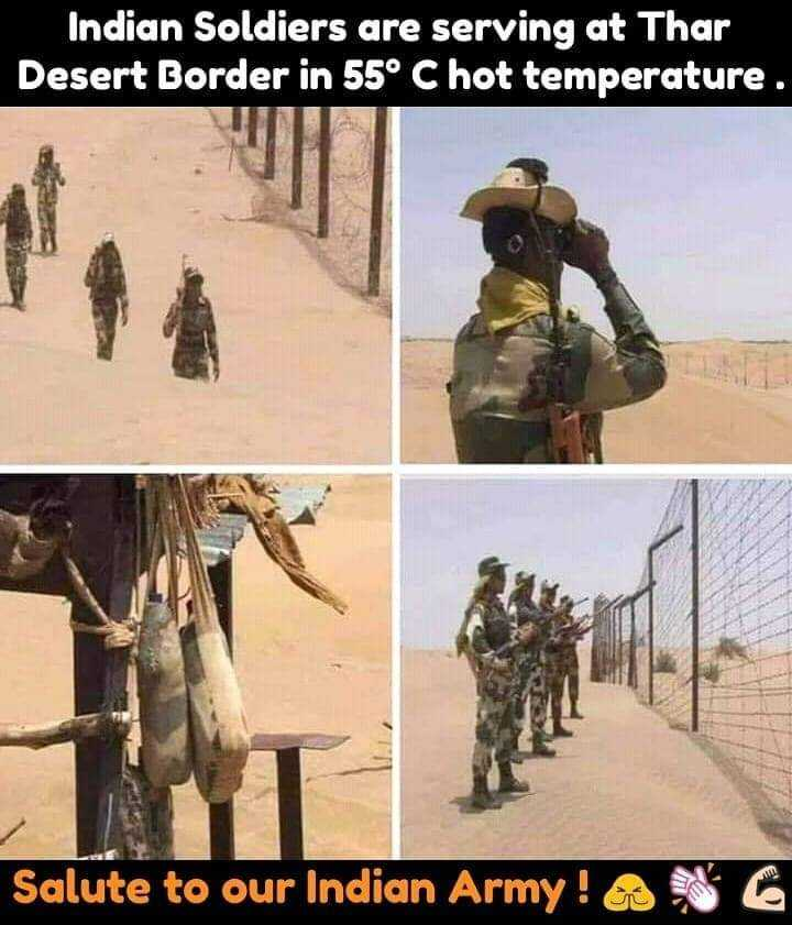 indian army - Indian Soldiers are serving at Thar Desert Border in 55° C hot temperature . Salute to our Indian Army ! - ShareChat