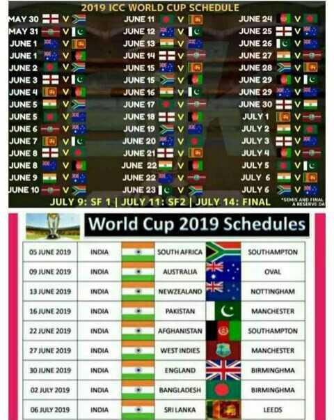 india wale - 2019 ICC WORLD CUP SCHEDULE MAY 30 EV JUNE 11V13 JUNE 24V MAY 31 v JUNE 12 VIC JUNE 25 IV JUNE 1 VG JUNE 13 JUNE 26 16 V . JUNE 1 V JUNE 14 Av JUNE 27 JUNE 2 JUNE 15 JUNE 28V JUNE 3 Pvc JUNE 15 V JUNE 29 JUNE 4 IN V JUNE 16 JUNE 29 : v JUNE 5 JUNE 17 JUNE 30 v JUNE 5 V JUNE 18 BV JULY 1 BV JUNE 6 - - V JUNE 19 V JULY 2 - V JUNE 7 vi JUNE 20 V JULY 3 IV JUNE 8 Tv JUNE 21 3 v JULY 4 JUNE 8 V JUNE 22 V JULY 5 ve JUNE 9 VRS JUNE 22 V - JULY 6 JUNE 10 - - > JUNE 231 V JULY 6 V JULY 9 : SF 1 | JULY 11 : SF2 JULY 14 : FINAL A World Cup 2019 Schedules OS JUNE 2019 INDIA SOUTH AFRICA SOUTHAMPTON 09 JUNE 2019 INDIA AUSTRALIA OVAL 13 JUNE 2019 INDIA R . NOTTINGHAM 16 JUNE 2019 INDIA NEWZEALAND PAKISTAN AFGHANISTAN MANCHESTER 22 JUNE 2019 INDIA SOUTHAMPTON 27 JUNE 2019 INDIA WEST INDIES MANCHESTER 30 JUNE 2019 INDIA ENGLAND BIRMINGHMA 02 JULY 2019 INDIA BANGLADESH BIRMINGHMA 06 JULY 2019 INDIA SRI LANKA LEEDS - ShareChat