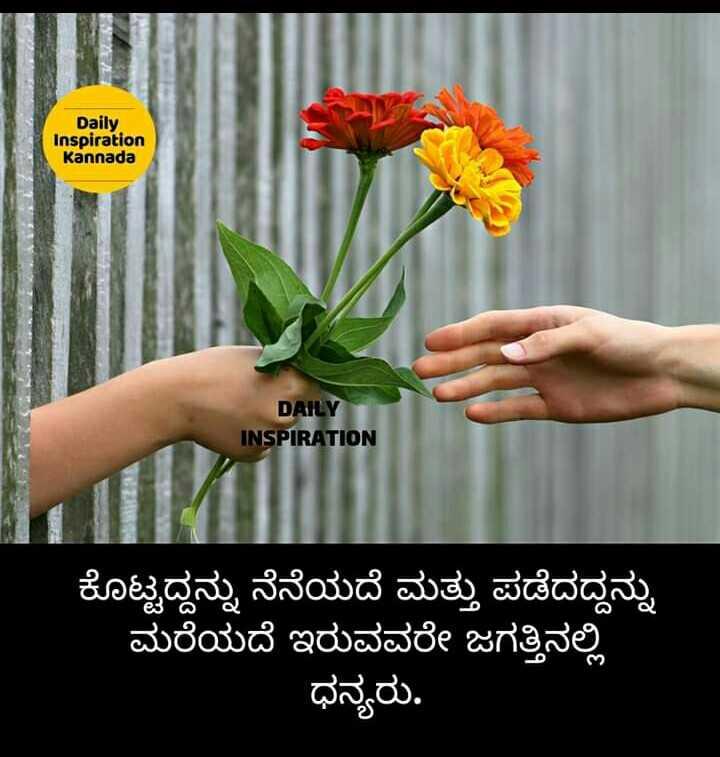 inspiration thoughts - Daily Inspiration Kannada DAILY INSPIRATION ಕೊಟ್ಟದ್ದನ್ನು ನೆನೆಯದೆ ಮತ್ತು ಪಡೆದದ್ದನ್ನು ಮರೆಯದೆ ಇರುವವರೇ ಜಗತ್ತಿನಲ್ಲಿ ಧನ್ಯರು . - ShareChat