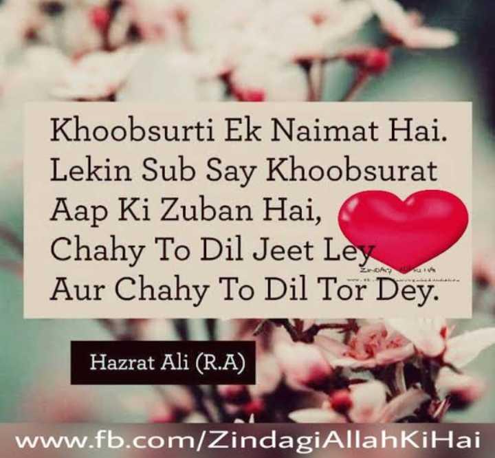 ishq ibadat 💕💕 - Khoobsurti Ek Naimat Hai . Lekin Sub Say Khoobsurat Aap Ki Zuban Hai , Chahy To Dil Jeet Ley Aur Chahy To Dil Tor Dey . ZA Hazrat Ali ( R . A ) Hazrat Ali ( R . A ) www . fb . com / Zindagi Allah Ki Hai - ShareChat