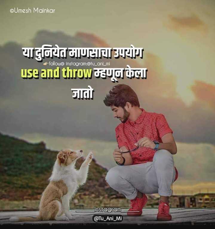 jakhmi dil status - @ Umesh Mainkar follow @ Instagram : @ tu _ anLmi या दुनियेत माणसाचा उपयोग use and throw म्हणून केला जातो HI Instagram @ Tu _ Ani _ Mi - ShareChat
