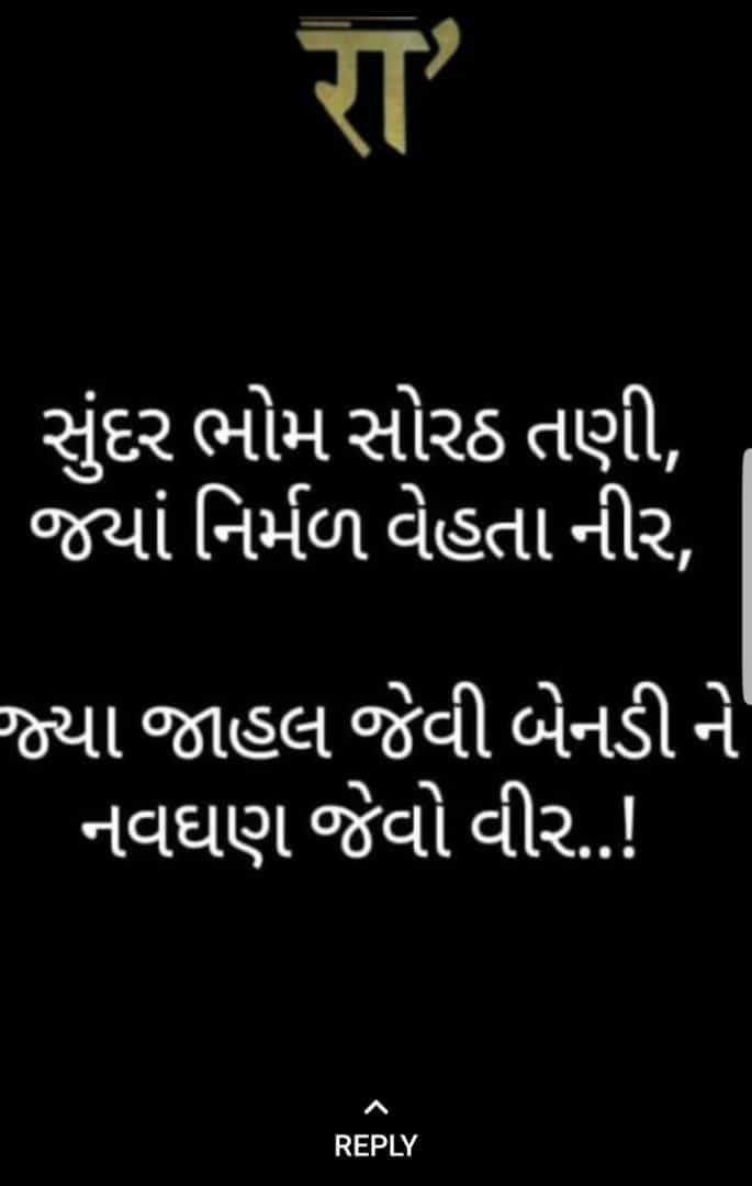🙏 jay rajputana 🙏 - સુંદર ભોમ સોરઠ તણી , જયાં નિર્મળ વેહતા નીર , જ્યા જાહલ જેવી બેનડી ને નવઘણ જેવો વીર . . ! REPLY - ShareChat