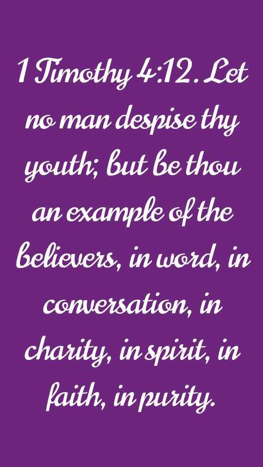 jesus message - 1 Timothy 4 : 12 . Let no man despise thy youth ; but be thou an example of the believers , in word , in conversation , in charity , in spirit , in faith , in purity . - ShareChat