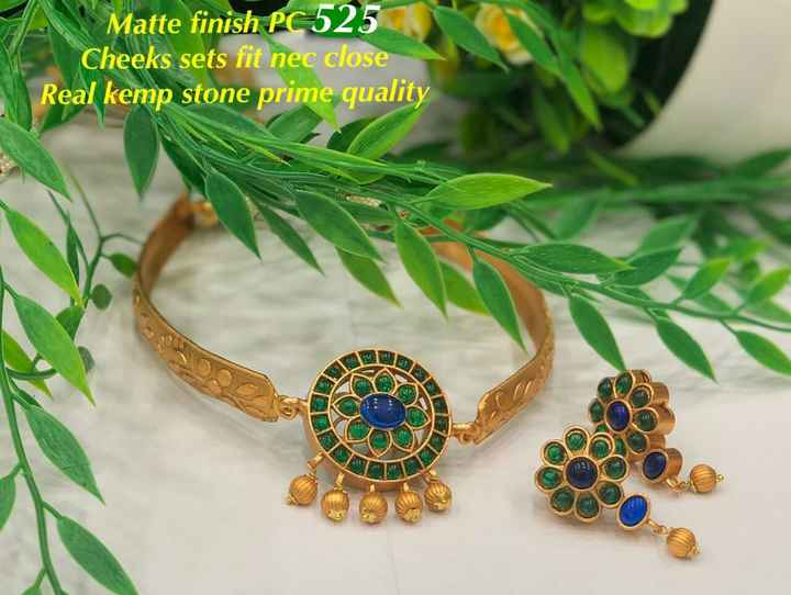 jewellery - Matte finish PC 525 Cheeks sets fit nec close Real kemp stone prime quality - ShareChat