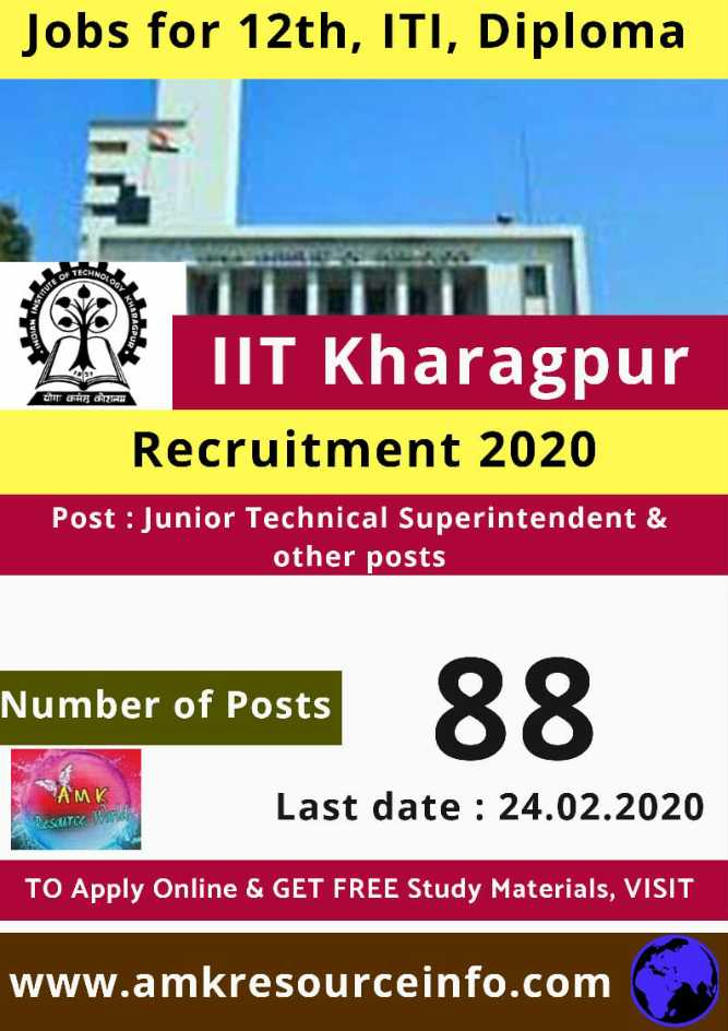 job news - Jobs for 12th , ITI , Diploma योगः कर्मस कोशनम TIT Kharagpur Recruitment 2020 Post : Junior Technical Superintendent & other posts Number of Posts Number of Posts 88 Last date : 24 . 02 . 2020 RESULTCC TO Apply Online & GET FREE Study Materials , VISIT www . amkresourceinfo . com - ShareChat