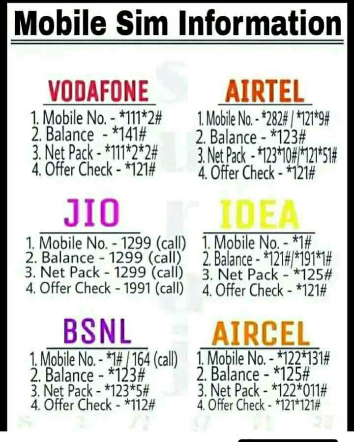 just knowledge - Mobile Sim Information VODAFONE 1 . Mobile No . - * 111 * 2 # 2 . Balance - * 141 # 3 . Net Pack - * 111 * 2 * 2 # 4 . Offer Check - * 121 # AIRTEL 1 . Mobile No . - * 282 # 1 * 121 * 9 # 2 . Balance - * 123 # 3 . Net Pack - 123 * 108 * 121 * 514 4 . Offer Check - * 121 # de JIO IDEA 1 . Mobile No . - 1299 ( call ) 1 . Mobile No . - * 1 # 2 . Balance - 1299 ( call ) 2 . Balance - * 121 # 1 * 191 * 1 # 3 . Net Pack - 1299 ( call ) 3 . Net Pack - ' * 125 # 4 . Offer Check - 1991 ( call ) 4 . Offer Check - * 121 # BSNL AIRCEL 1 . Mobile No . - * 7 / 164 ( call ) 1 . Mobile No . - * 122 * 131 # 2 . Balance - * 123 # 2 . Balance - * 125 # 3 . Net Pack - * 123 * 5 # 3 . Net Pack - * 122 * 011 # 4 . Offer Check - * 112 # 4 . Offer Check - * 121 * 121 # - ShareChat