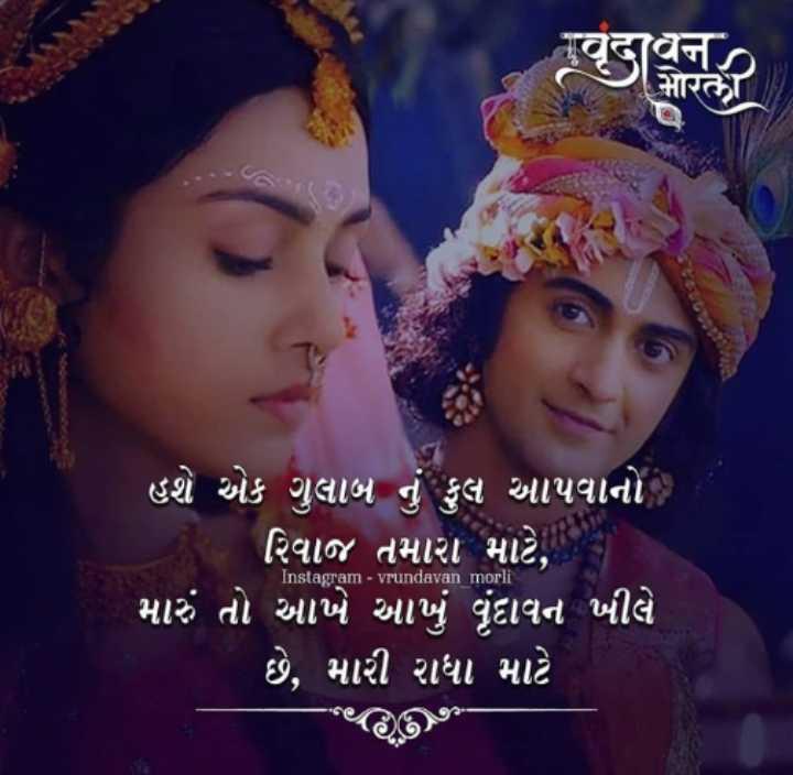 krishna lover - ' હશે એક ગુલાબ નું ફલ આપવાનો - રિવાજ તમારા માટે , ' મારું તો આખે આખું વૃંદાવન ખીલે ' છે , મારી રાધા માટે Instagram - vrundavan morli - ShareChat