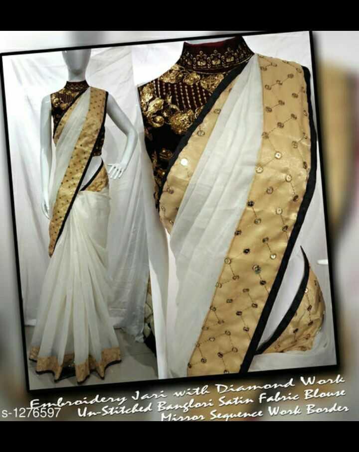 latest sarees - sombraidery Jari with Diamnd Work - 76597 Un - Stitched Banclari San Fabric Blouse Mirror Sequence Work Border - ShareChat