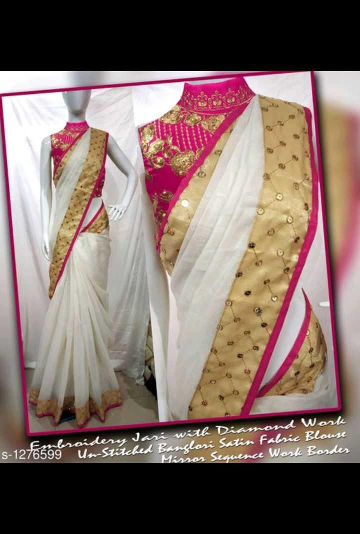 latest sarees - nombroidery Jari with Diamond Work 1276599 Un - Sitched Banlari Satin Fabric Blouse Mirror Sequence Work Border - ShareChat