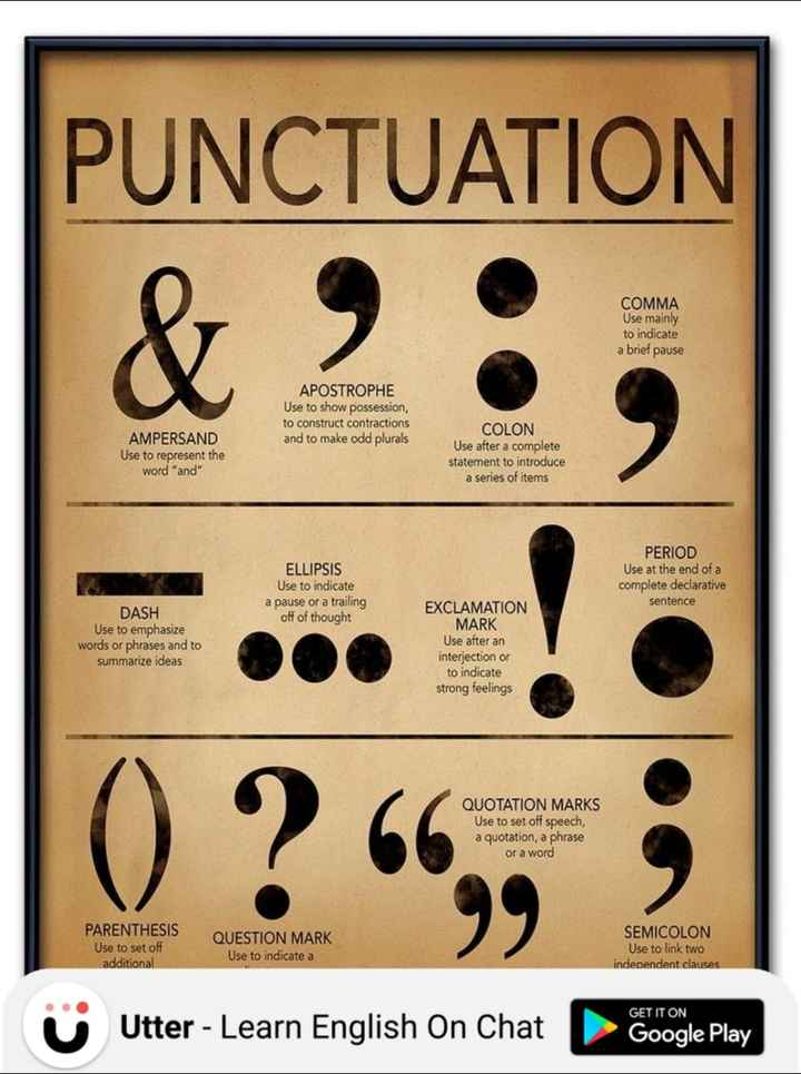 learn english - PUNCTUATION & 2 COMMA Use mainly to indicate a brief pause APOSTROPHE Use to show possession , to construct contractions and to make odd plurals AMPERSAND Use to represent the word and COLON Use after a complete statement to introduce a series of items ELLIPSIS Use to indicate a pause or a trailing off of thought PERIOD Use at the end of a complete declarative sentence DASH Use to emphasize words or phrases and to summarize ideas EXCLAMATION MARK Use after an interjection or to indicate strong feelings O ? 66 QUOTATION MARKS Use to set off speech , a quotation , a phrase or a word PARENTHESIS Use to set of additional QUESTION MARK Use to indicate a SEMICOLON Use to link two independent clauses GET IT ON Utter - Learn English On Chat Google Play - ShareChat