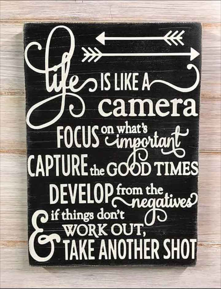life - Wes IS LIKE A o camera FOCUS or moortant CAPTURE the GOOD TIMES DEVELOP from thativer SWARE ANOTHER SHOT if things don ' t - ShareChat