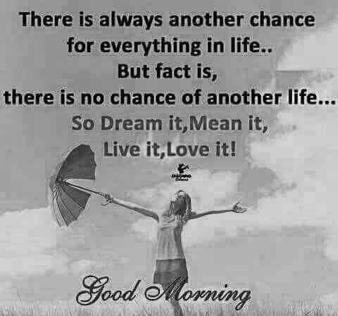 life changing quotes - There is always another chance for everything in life . . But fact is , there is no chance of another life So Dream it , Mean it , Live it , Love it ! Good Morning - ShareChat