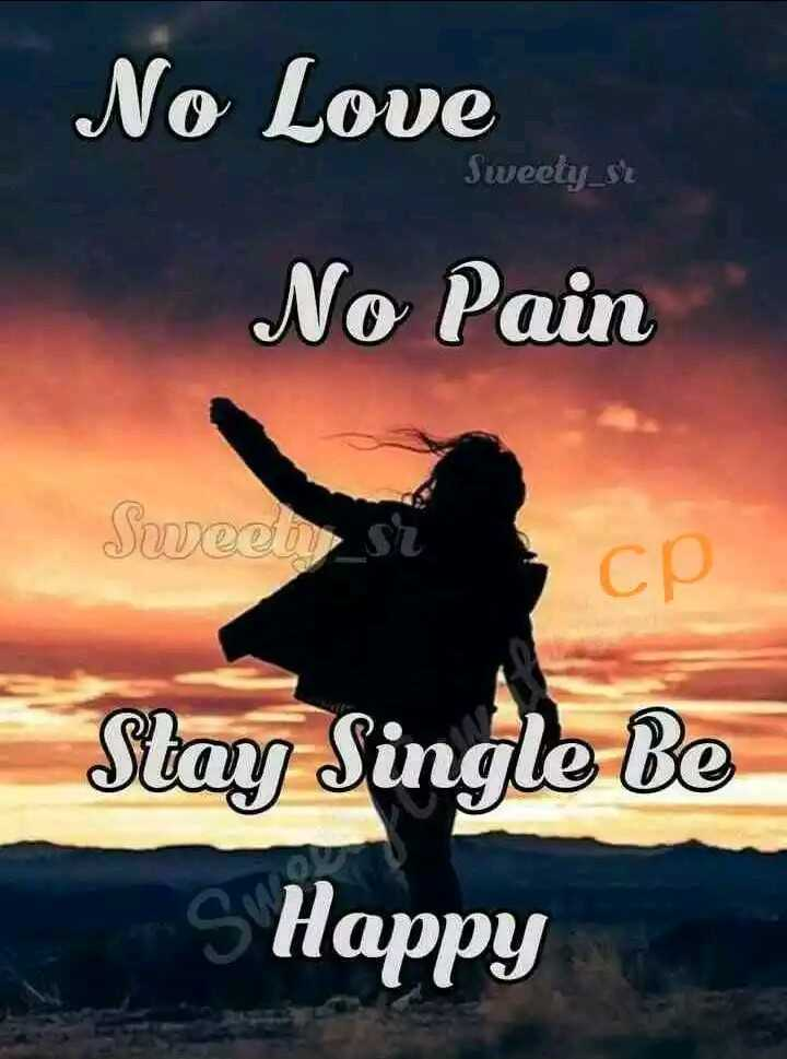 life status - No Love Sweety _ st No Pain Sweet si CP Stay Single Be s Happy - ShareChat