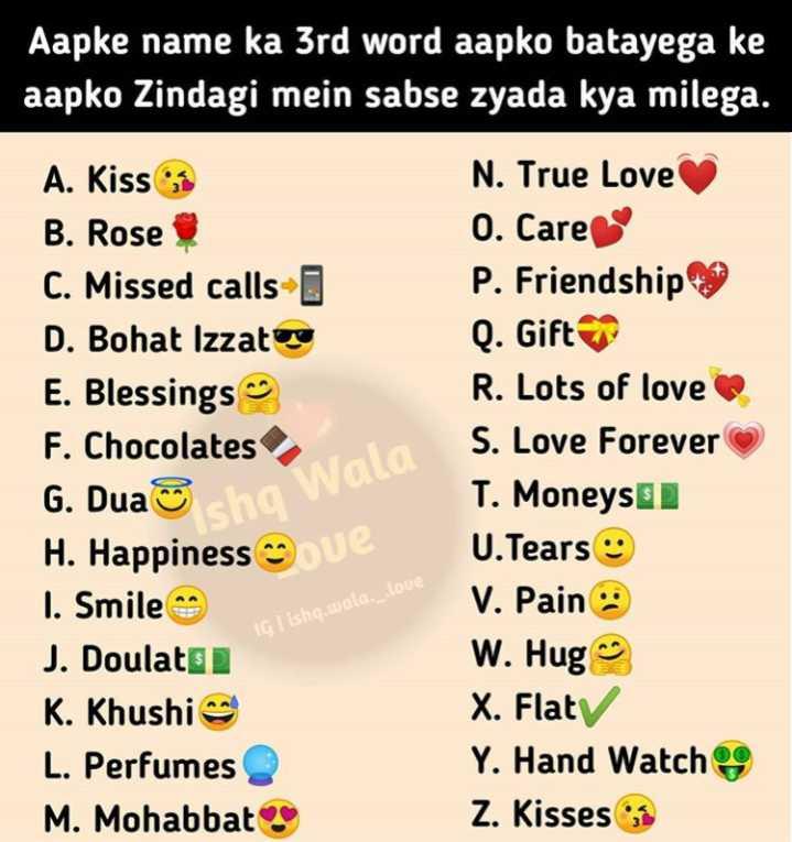love 💖 - Aapke name ka 3rd word aapko batayega ke aapko Zindagi mein sabse zyada kya milega . A . Kiss B . Rose C . Missed calls - D . Bohat Izzatore E . Blessings ng F . Chocolates G . Dua sha H . Happiness gue I . Smile J . Doulato K . Khushi L . Perfumes M . Mohabbat N . True Love 0 . Care P . Friendship Q . Gift R . Lots of love S . Love Forever T . Moneyse U . Tears V . Pain W . Hugo X . Flaty Y . Hand Watch Z . Kisses Ishq Wala , IGTisha . uala Loue - ShareChat