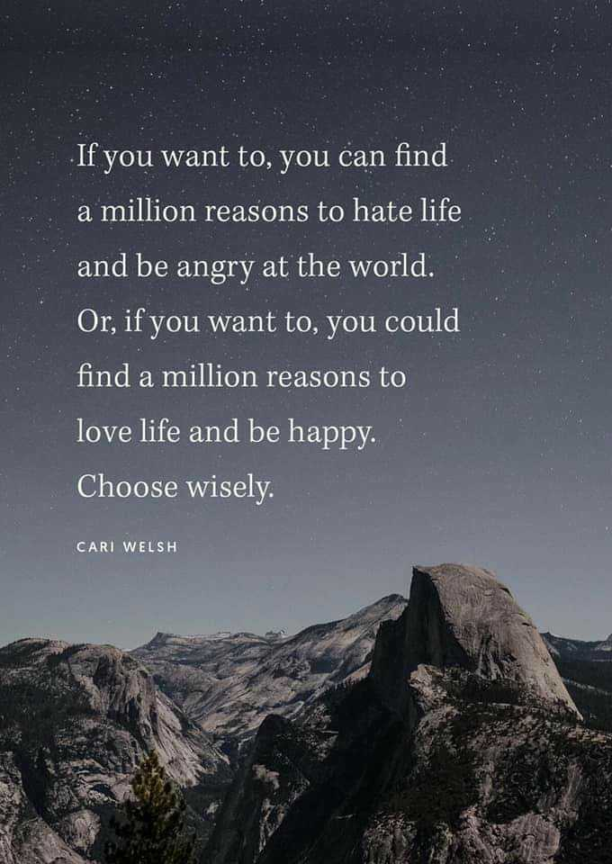 love😘loveas - If you want to , you can find a million reasons to hate life and be angry at the world . Or , if you want to , you could find a million reasons to love life and be happy . Choose wisely . CARI WELSH - ShareChat