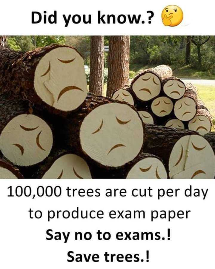 m - Did you know . ? 100 , 000 trees are cut per day to produce exam paper Say no to exams . ! Save trees . ! - ShareChat