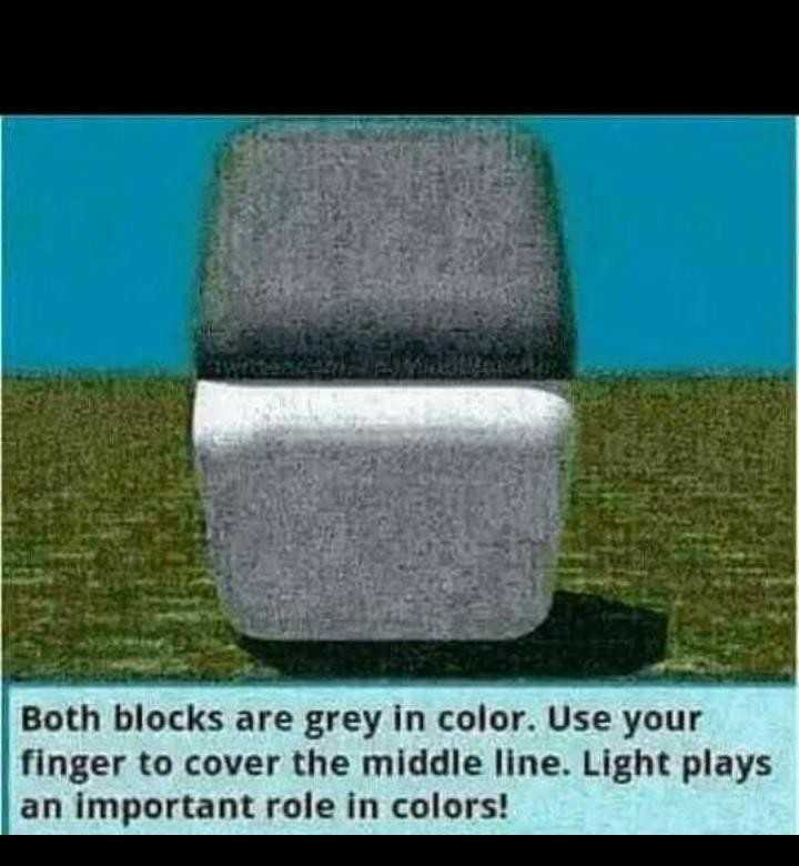 magick - Both blocks are grey in color . Use your finger to cover the middle line . Light plays an important role in colors ! - ShareChat