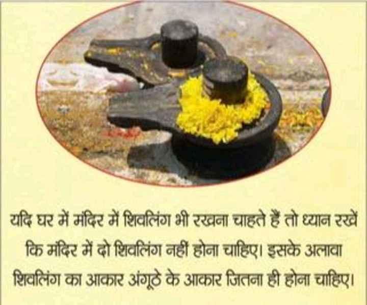 mahadev - | यदि घर में मंदिर में शिवलिंग भी रखना चाहते हैं तो ध्यान रखें कि मंदिर में दो शिवलिंग नहीं होना चाहिए । इसके अलावा | शिवलिंग का आकार अंगूठे के आकार जितना ही होना चाहिए । - ShareChat