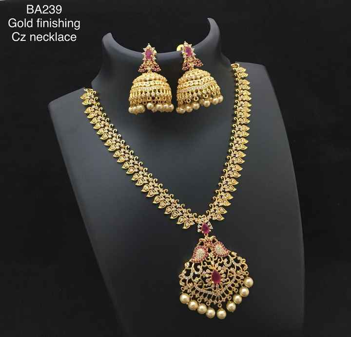 marriage disigns - BA239 Gold finishing Cz necklace - ShareChat