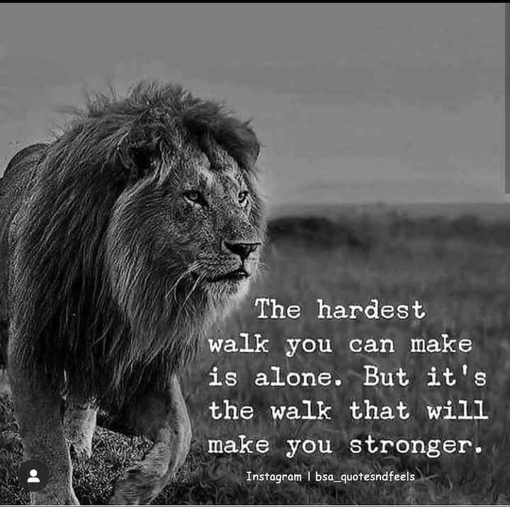 mass quotes - The hardest walk you can make is alone . But it ' s the walk that will make you stronger . Instagram I bsa _ quotesndfeels - ShareChat