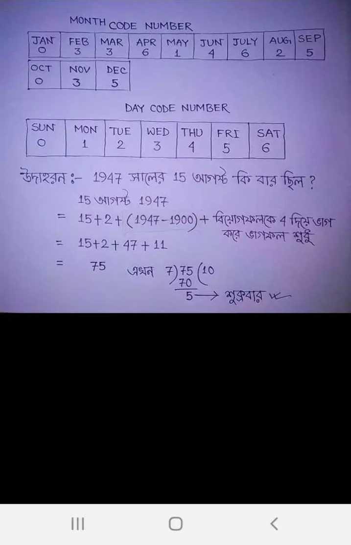 "#math formula - SEP T 5 MONTH CODE NUMBER FEB MAR MAY JUN JULY | ০ | 3 | 3 | 6 | 1 1 4 | | 6 ост NOV DEC ০ । 3 5 | DAY CODE NUMBER SUN MON TUE WED THU FRI SAT O | 1 / 2 | 3 | 4 | 5 | 6 উদাহরন : - 1947 সালের 15 আগষ্ট "" কি বার ছিল ? 15 আগস্ট 1947 = 15 + 2 + ( 1947 - 1900 ) + বিয়োগফলকে 4 দিয়ঙাগ - বরে গফল শুধু = 15 + 2 + 47 + 11 = 15 এখন + ) { 5 ( 10 > শুক্রবার – 20 . - ShareChat"