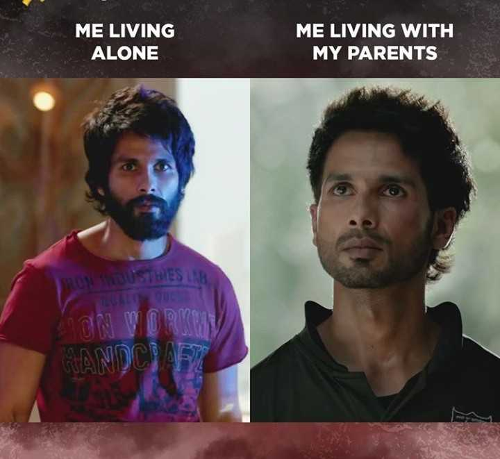 meme - ME LIVING ALONE ME LIVING WITH MY PARENTS TRON BUSTHIES ON WOMEN HANDCRAFT - ShareChat