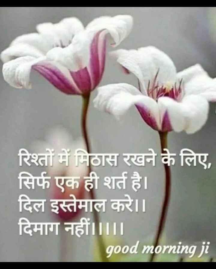 mere  vichar - रिश्तों में मिठास रखने के लिए , सिर्फ एक ही शर्त है । दिल इस्तेमाल करे । । दिमाग नहीं । । । । । good morning ji - ShareChat