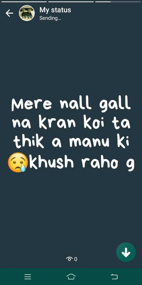 missing 😢😢😢 - < My status Sending . . . Mere nall gall na kran koi ta thik a manu ki khush raho g OO - ShareChat