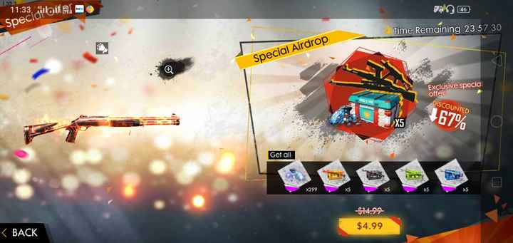 mobile game - 1 . 323 11 : 33 off g o Specidi ' offer டி8ெ6 ) Time Remaining 23 : 57 : 30 Special Airdrop Exclusive special offer ! FREE FIRE DISCOUNTED 167 % Get all : X299 X5 $ 4 . 99 < BACK - ShareChat