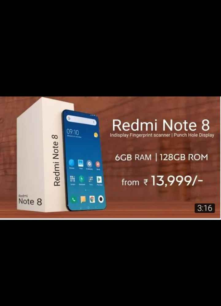 models - Redmi Note 8 09 : 10 Indisplay Fingerprint scanner Punch Hole Display Redmi Note 8 6GB RAM 128GB ROM from = 13 , 999 / Redmi Note 8 3 : 16 - ShareChat