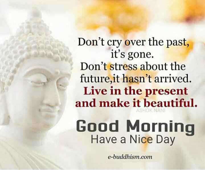 morning - Don ' t cry over the past , it ' s gone . Don ' t stress about the future , it hasn ' t arrived . Live in the present and make it beautiful . ASHOK NANI Good Morning Have a Nice Day e - buddhism . com - ShareChat