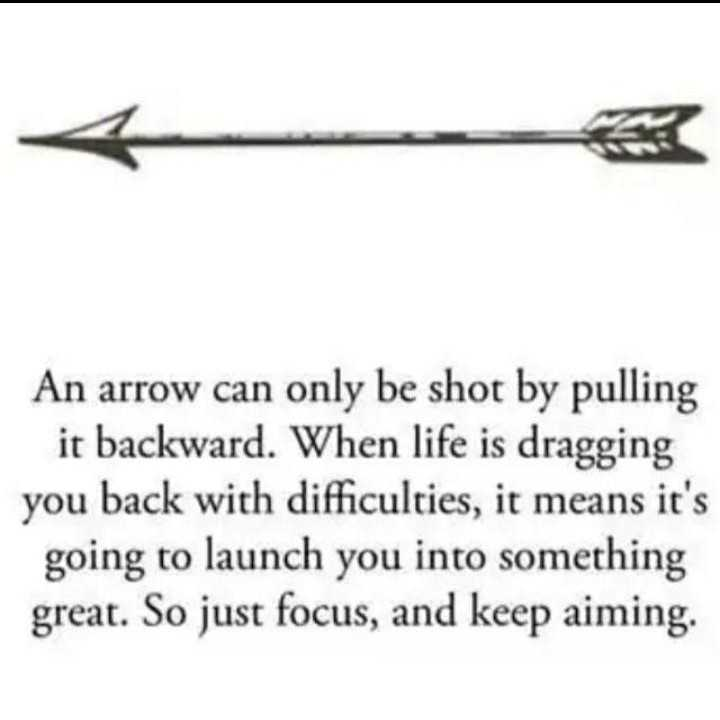 motivate - An arrow can only be shot by pulling it backward . When life is dragging you back with difficulties , it means it ' s going to launch you into something great . So just focus , and keep aiming . - ShareChat