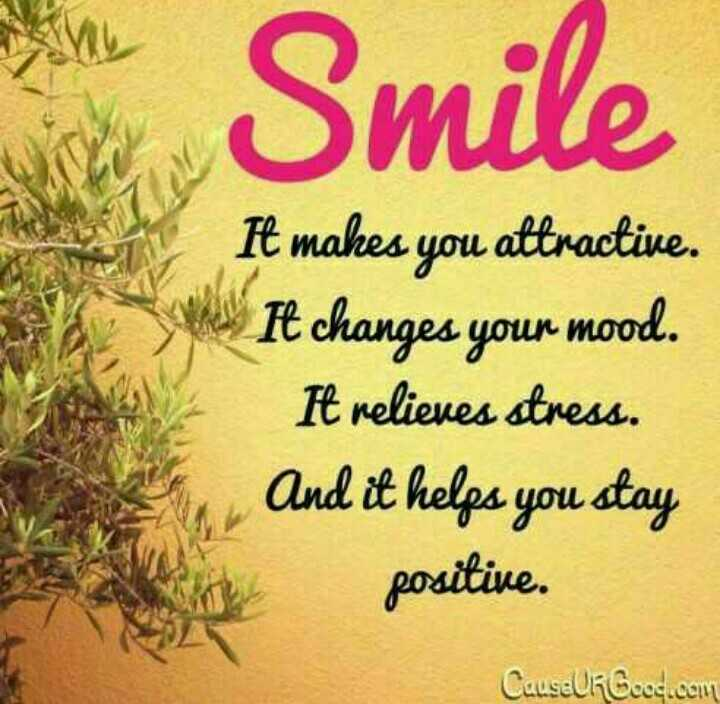 💪 motivation - Smile It makes you attractive . Mas changes your mood . It relieves stress . And it helps you stay positive . Causeur Geoc com - ShareChat