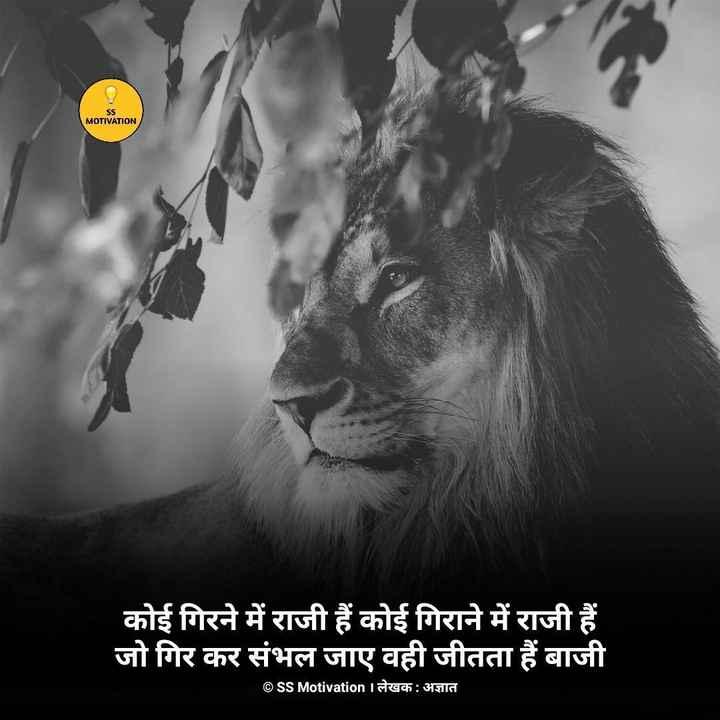#motivation - SS MOTIVATION कोई गिरने में राजी हैं कोई गिराने में राजी हैं जो गिर कर संभल जाए वही जीतता हैं बाजी ©SS Motivation Iलेखक : अज्ञात - ShareChat